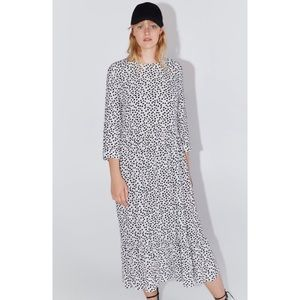 Zara Black and White Printed Midi Dress Size S
